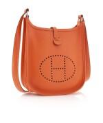 Orange leather and palladium hardware, Evelyne PM 16, Hermès, 2012