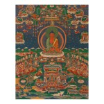 A THANGKA DEPICTING AMITABHA IN SUKHAVATI,  TIBET, 18TH/19TH CENTURY