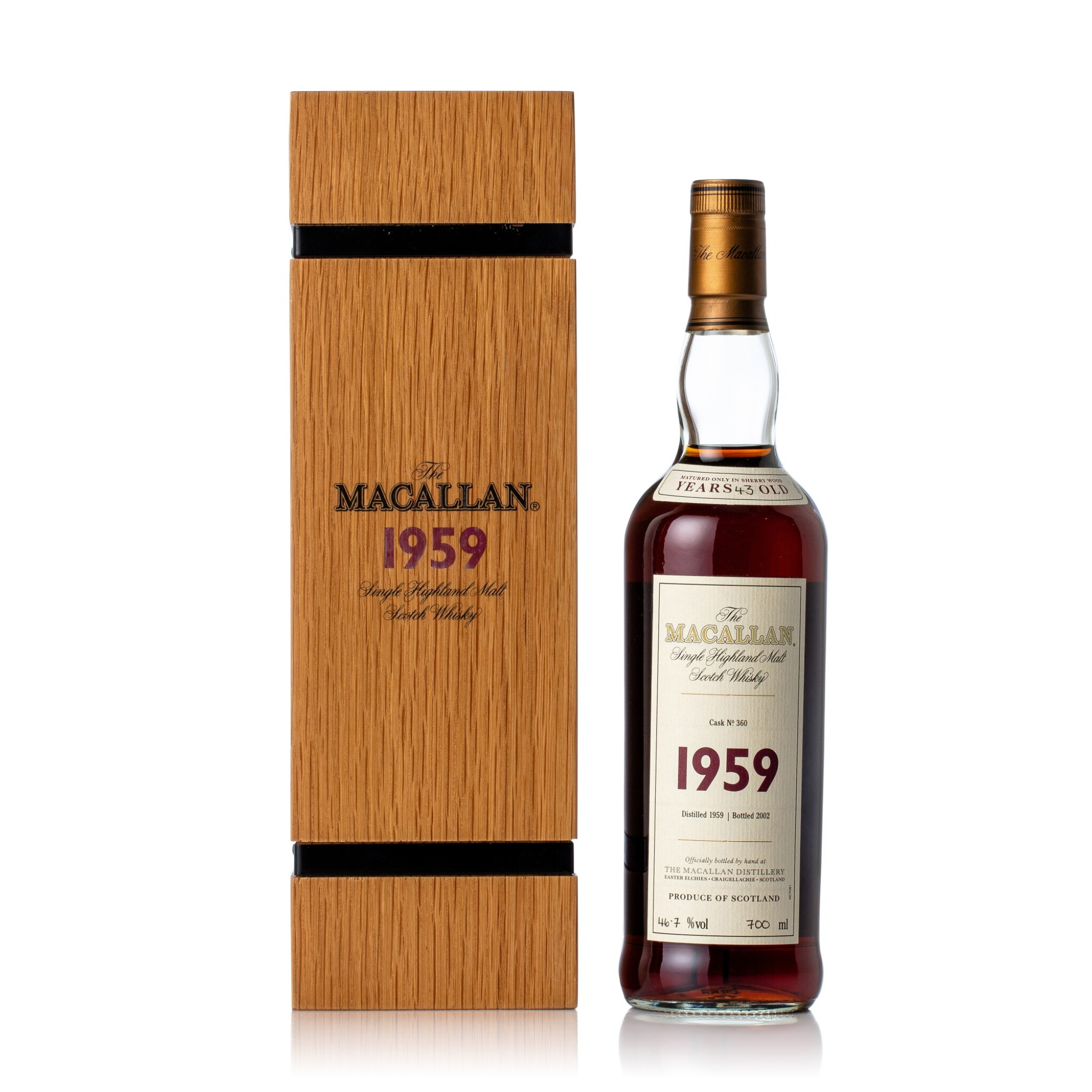 View full screen - View 1 of Lot 5001. The Macallan Fine & Rare 43 Year Old 46.7 abv 1959 (1 BT70)    .