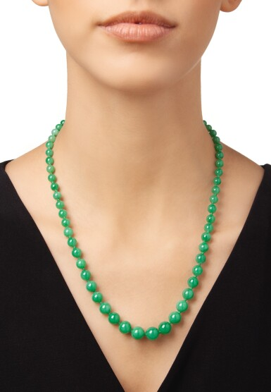 View 2. Thumbnail of Lot 197. JADEITE AND DIAMOND NECKLACE.
