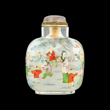 View 2. Thumbnail of Lot 1024. An inside-painted glass 'boys' snuff bottle By Ye Zhongsan, dated bingyin year, corresponding to 1926   丙寅(1926年) 葉仲三作玻璃內畫嬰戲圖鼻煙壺.