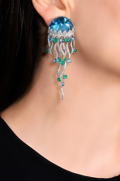 View 4. Thumbnail of Lot 22. Pair of topaz, emerald and diamond ear clips, 'Jellyfish'.