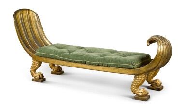 View 4. Thumbnail of Lot 163. A Regency parcel gilt and carved giltwood 'Egyptian Revival' daybed, circa 1815.