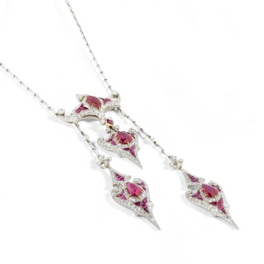 View 2. Thumbnail of Lot 15. Collier rubis et diamants | Ruby and diamond necklace.