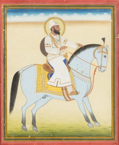 View 7. Thumbnail of Lot 34. INDIA, 19TH CENTURY | FOUR EQUESTRIAN PORTRAITS OF DIGNITARIES .