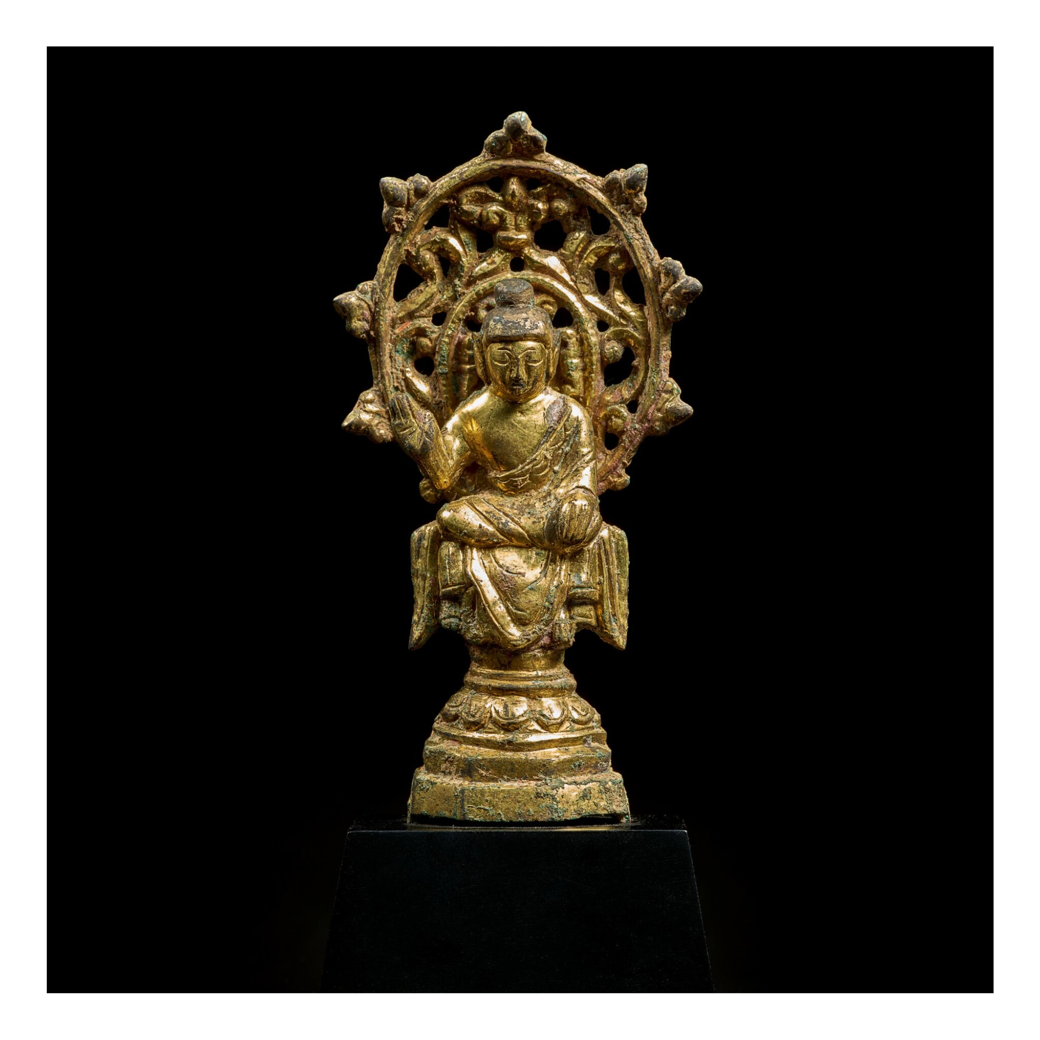 View full screen - View 1 of Lot 580.  A SMALL GILT-BRONZE FIGURE OF MAITREYA,  TANG DYNASTY.
