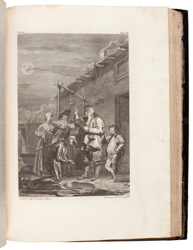 View 3. Thumbnail of Lot 88. Cervantes, Don Quixote, Madrid, Ibarra, 1780, 4 volumes, navy morocco gilt by Bozérian.