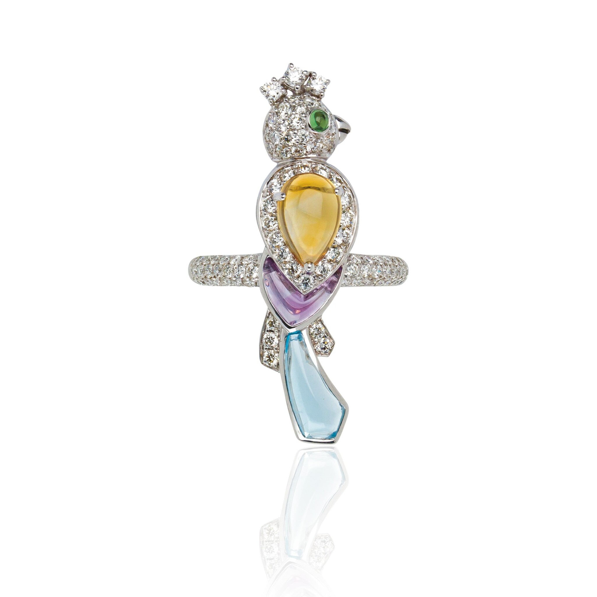 View full screen - View 1 of Lot 13. GEM SET AND DIAMOND RING, MICHELE DELLA VALLE.