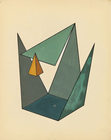 YAKOV GEORGIEVICH CHERNIKHOV | Green-Grey-Yellow Geometric Composition