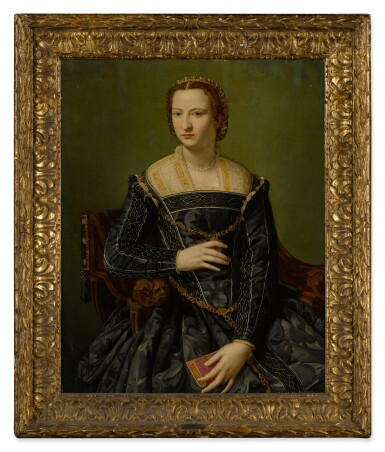 View 2. Thumbnail of Lot 24. Portrait of a lady in black, holding a book, three-quarter length.