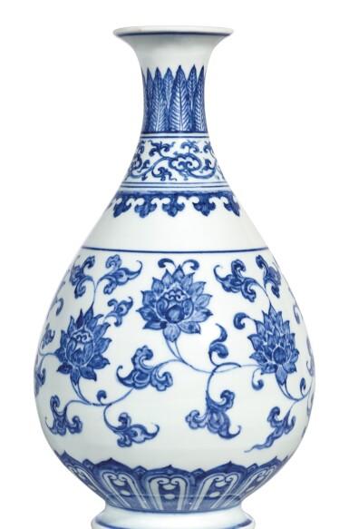 View 2. Thumbnail of Lot 3609. AN EXTREMELY RARE AND SUPERB BLUE AND WHITE 'LOTUS SCROLL' VASE, YUHUCHUNPING MING DYNASTY, CHENGHUA PERIOD   明成化 青花纏枝番蓮紋玉壺春瓶.