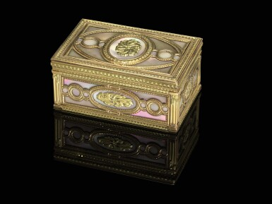 View 1. Thumbnail of Lot 29. A mother of pearl snuff box with two-colour gold mounts.