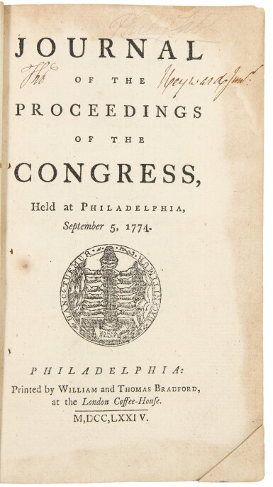 View 1. Thumbnail of Lot 176. Continental Congress | The rare first editions with remarkable provenance.