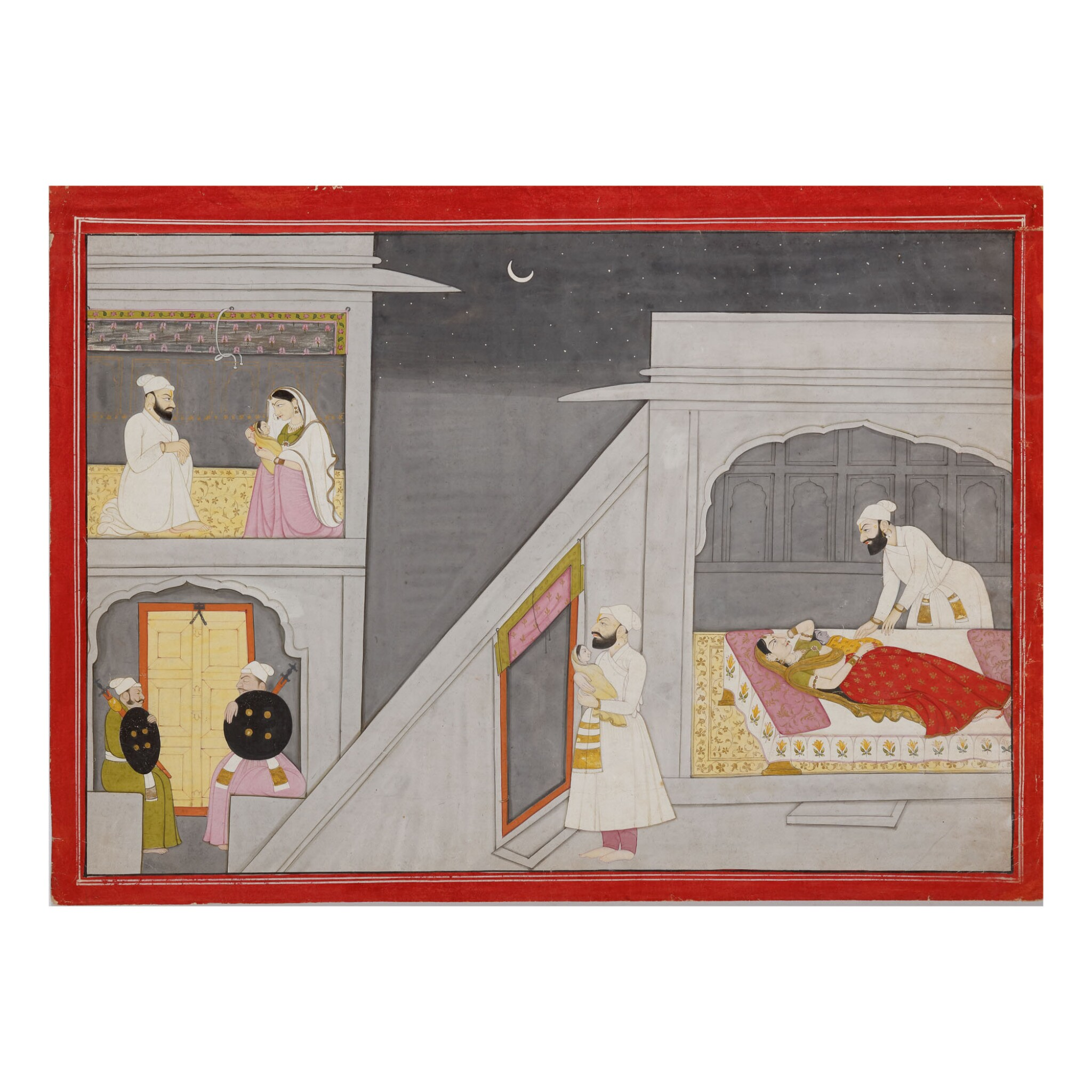 View full screen - View 1 of Lot 378. AN ILLUSTRATION TO A BHAGAVATA PURANA SERIES: THE EXCHANGE OF THE BABIES,  INDIA, GULER, CIRCA 1760-1765.