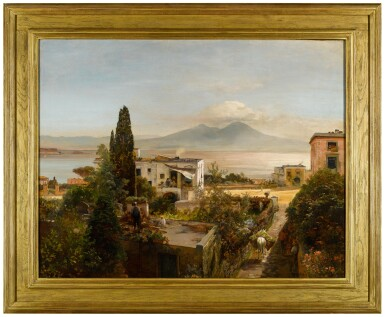 View 3. Thumbnail of Lot 65. OSWALD ACHENBACH |  VIEW OF THE BAY OF NAPLES, WITH VESUVIUS BEYOND.