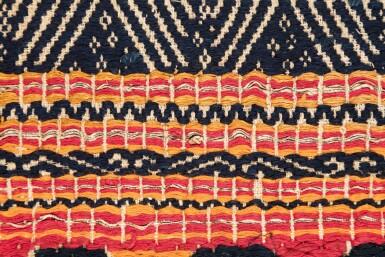 "View 3. Thumbnail of Lot 32. Tissu cérémoniel ""à jonques"" tatibin, Lampung, Sumatra, Indonésie, ca.1900 | Ceremonial hanging ""ship cloth"" tatibin, Lampung, Sumatra, Indonesia, about 1900."