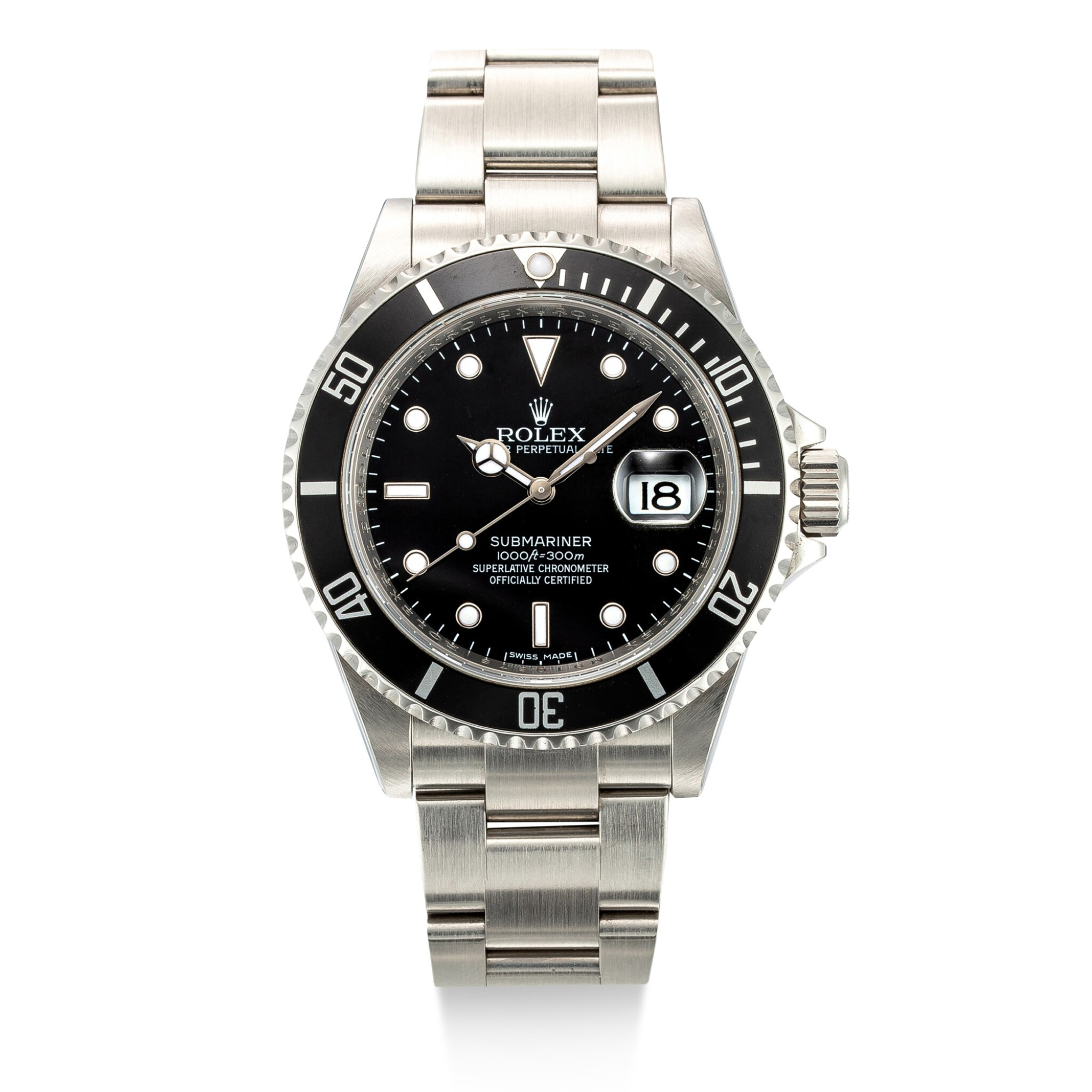 View 1 of Lot 8038. Rolex | Submariner, Reference 16610T, A stainless steel wristwatch with date and bracelet, Circa 2007 | 勞力士 | Submariner 型號16610T    精鋼鏈帶腕錶,備日期顯示,約2007年製.