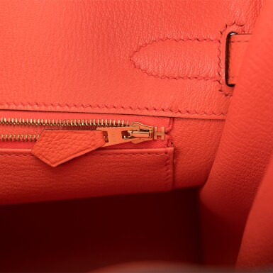 View 9. Thumbnail of Lot 138. Hermès Orange Poppy Birkin 30cm of Togo Leather with Gold Hardware.