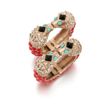 View 1. Thumbnail of Lot 97. Pair of red, turquoise and black gripoix and rhinestone cuffs.