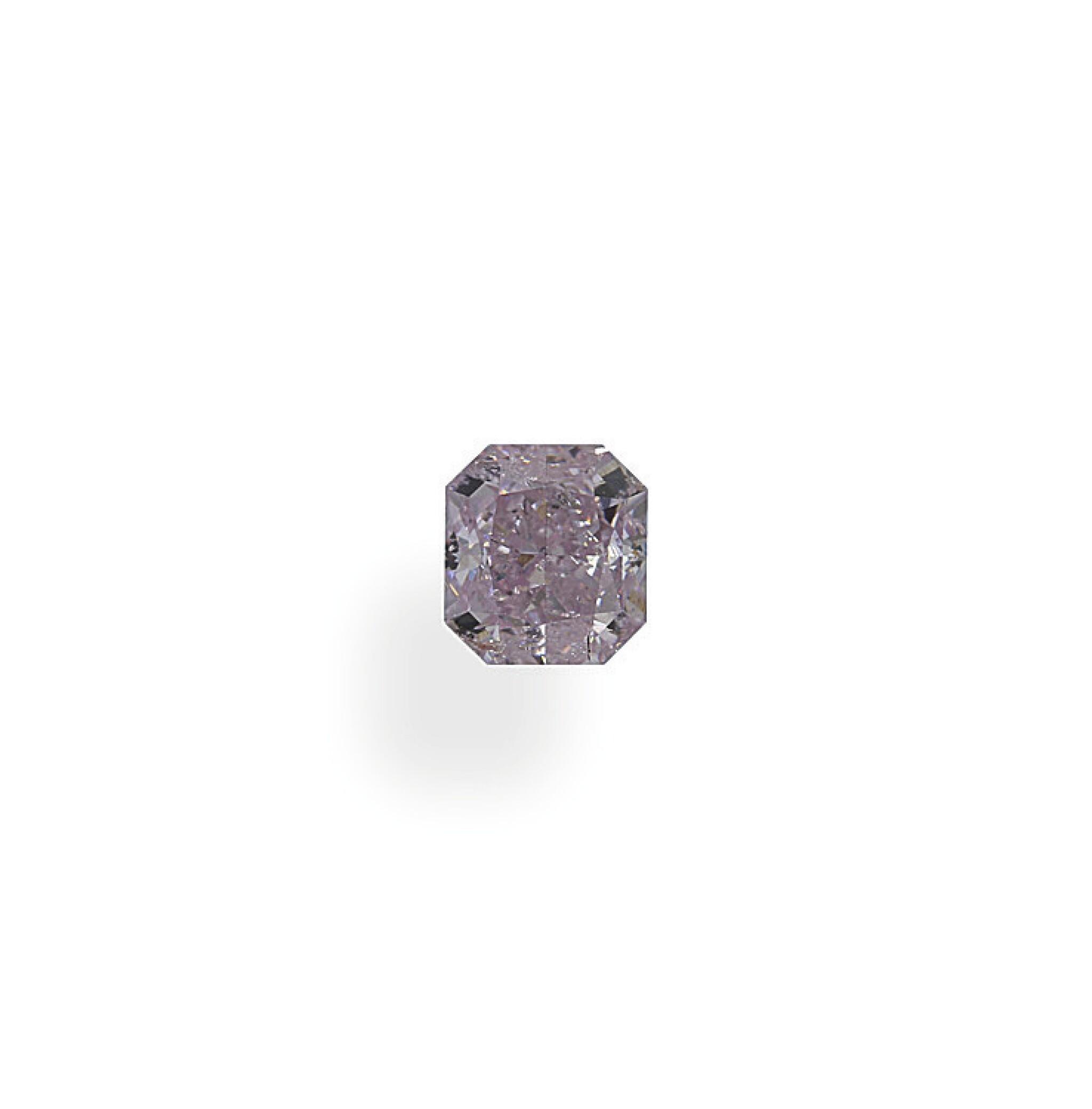 View full screen - View 1 of Lot 18. A 0.47 Carat Fancy Purplish Pink Cut-Cornered Rectangular Modified Brilliant-Cut Diamond.