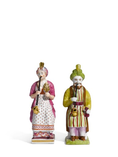 Two porcelain figures, Noviy Brothers Factory, Kuzayevo, early 19th century