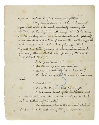 "DOYLE, SIR ARTHUR CONAN | Autograph manuscript signed (""Conan Doyle""), titled ""The Adventure of the Greek Interpreter"""