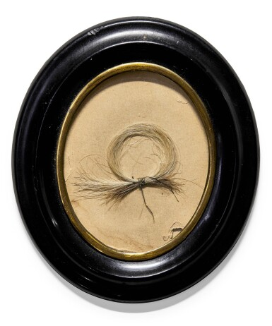 L. van Beethoven. A lock of the composer's grey hair given by him to Anton Halm in 1826, in a C19 frame