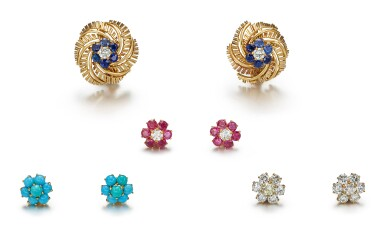 View 2. Thumbnail of Lot 9142. PAIR OF GEM SET AND DIAMOND EARCLIPS, CARTIER | 寶石 配 鑽石 耳環一對, 卡地亞(Cartier).