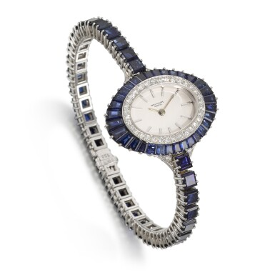 View 3. Thumbnail of Lot 319. PATEK PHILIPPE | REFERENCE 4020/1, WHITE GOLD, DIAMOND AND SAPPHIRE-SET BRACELET WATCH, MADE IN 1973.