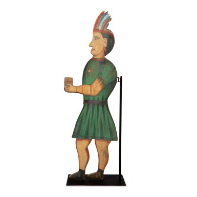 RARE POLYCHROME PAINT-DECORATED PINE TOBACCONIST INDIAN TRADE FIGURE, NORTHEASTERN UNITED STATES, CIRCA 1890