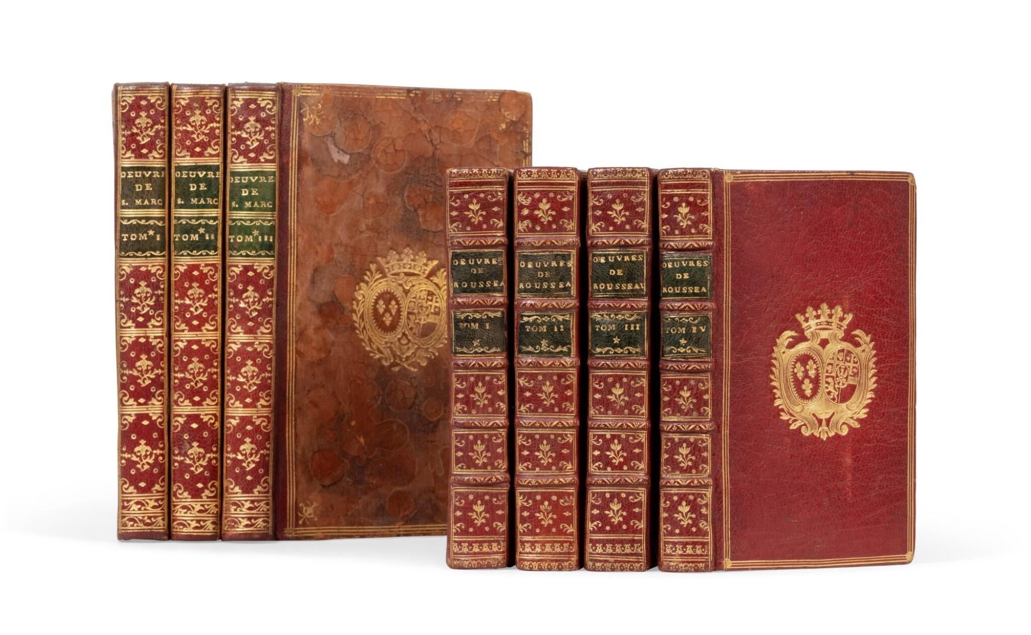 View full screen - View 1 of Lot 92. Réunion de 2 ouvrages en 7 volumes reliés aux armes de la comtesse de Provence.