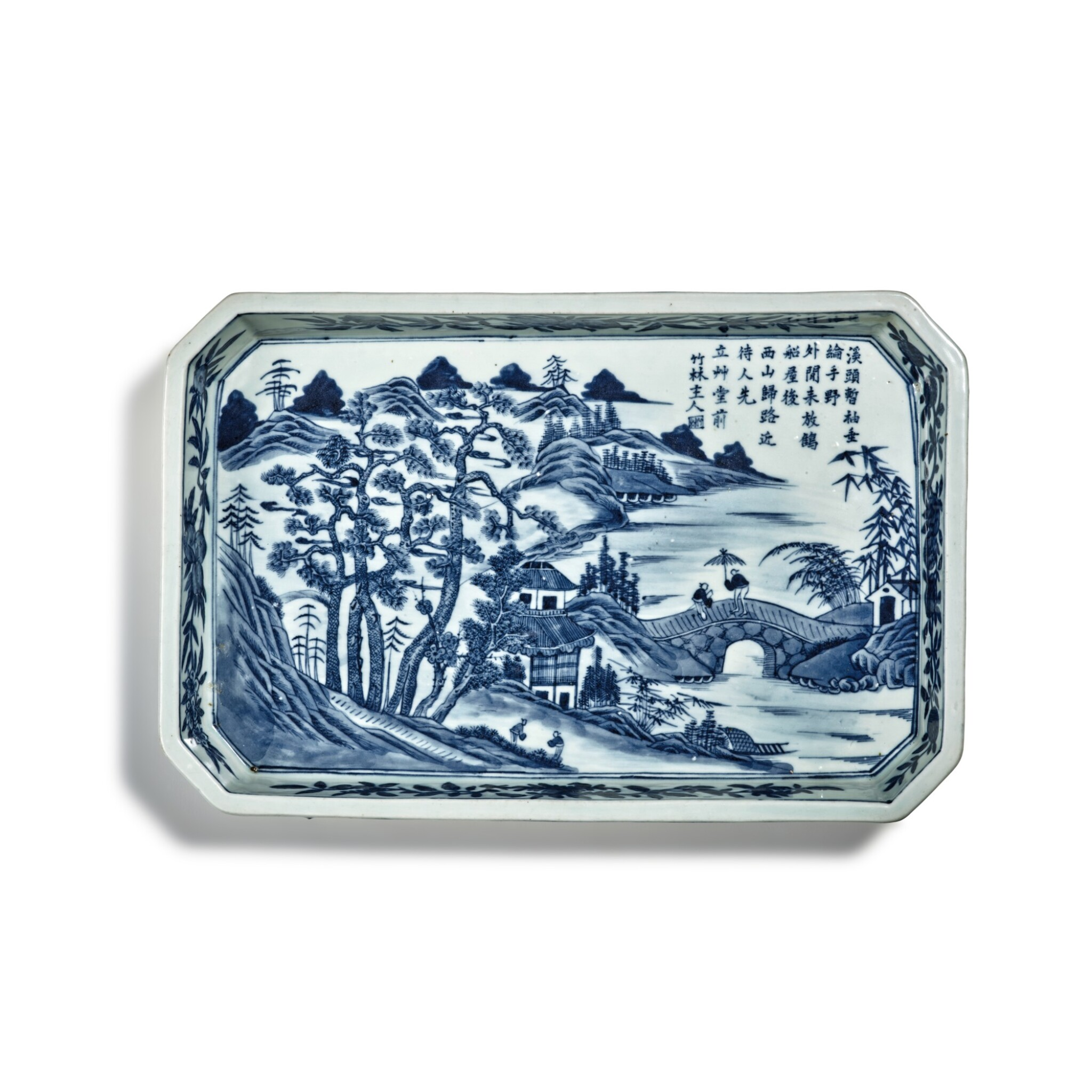 View full screen - View 1 of Lot 80. A blue and white 'landscape' tray, Mark and period of Jiaqing | 清嘉慶 青花山水圖詩文長方倭角托盤 《大清嘉慶年製》款.
