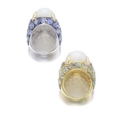 View 3. Thumbnail of Lot 151. PAIR OF MOONSTONE AND SAPPHIRE RINGS.