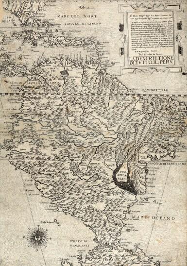 View 1. Thumbnail of Lot 253. Forlani. La descrittione di tutto il Peru. [Venice, c.1562].