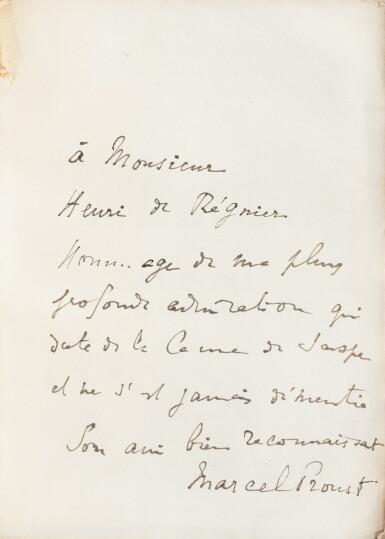 View 4. Thumbnail of Lot 301. Le Côté de Guermantes + Sodome et Gomorrhe. 2 éd. orig., chacune avec long envoi à Henri de Régnier..