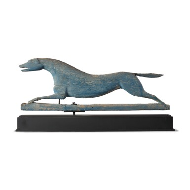 VERY FINE AND RARE CARVED AND GREEN PAINTED PINE RUNNING HOUND WEATHERVANE, MAINE, LATE 19TH CENTURY