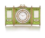 A rare Fabergésilver-gilt, enamel andseed pearl tryptich clock and frame, workmaster Johan Victor Aarne, St Petersburg, 1880-1904