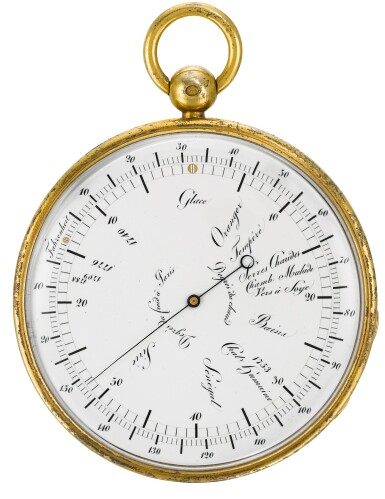 View 2. Thumbnail of Lot 60. BREGUET   [寶璣]    A SILVER-GILT POCKET THERMOMETER WITH RÉAUMUR AND FAHRENHEIT SCALES  NO. 101 PRESENTED AS A GIFT TO MONSIEUR CLÉMENT 18 DECEMBER 1821   [鎏金銀袖珍溫度計備列氏及華氏溫標,編號101,1821年12月18日贈出].