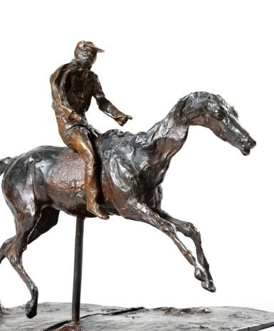 View 3. Thumbnail of Lot 226. Cheval au galop sur le pied droit, le pied gauche arrière seul touchant terre ; jockey monté sur le cheval.