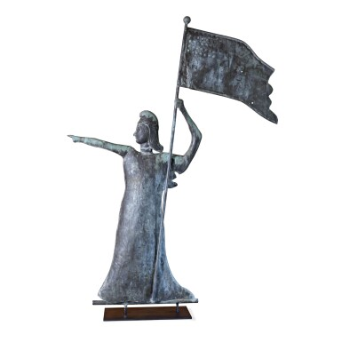 View 1. Thumbnail of Lot 25. VERY FINE AND RARE MOLDED FULL-BODIED SHEET COPPER AND ZINC GODDESS OF LIBERTY WEATHERVANE, NORTHEASTERN UNITED STATES, CIRCA 1915.