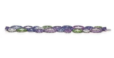View 2. Thumbnail of Lot 11. Gem set and diamond bracelet, 'Bubbles', Michele della Valle.