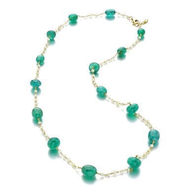 View 2. Thumbnail of Lot 1213. Emerald and diamond necklace.