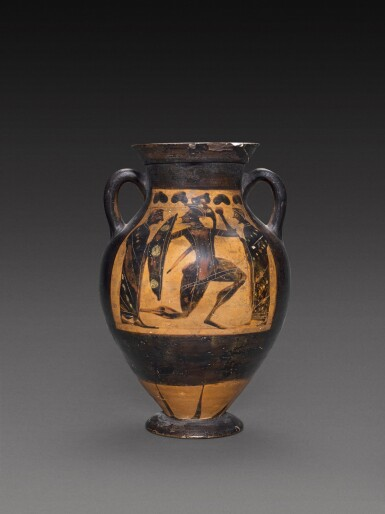 View 1. Thumbnail of Lot 12. An Attic Black-figured Amphora, Attributed to the Painter of Louvre F6, circa 570-550 B.C..