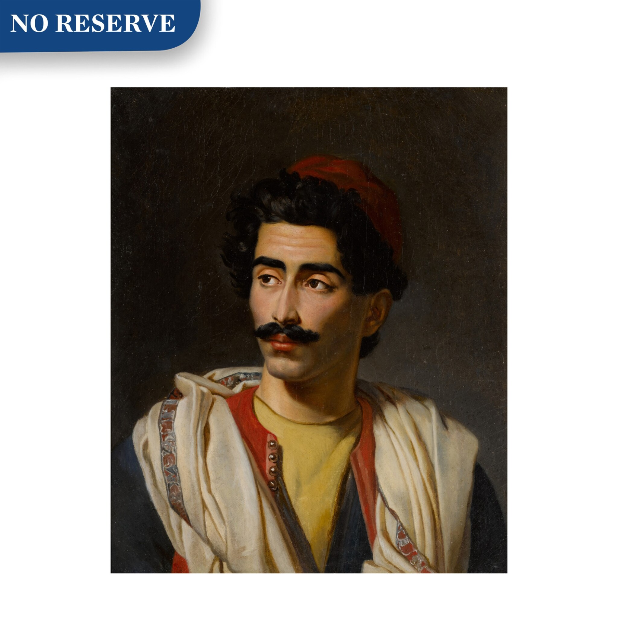"View full screen - View 1 of Lot 124. Portrait of a man in a red hat, said to be a ""jeune Grec"" or possibly Hassan el Berberi."