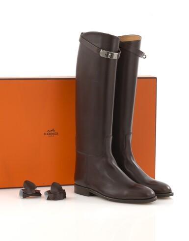 Brown leather Jumping boots Hermès, Hermès