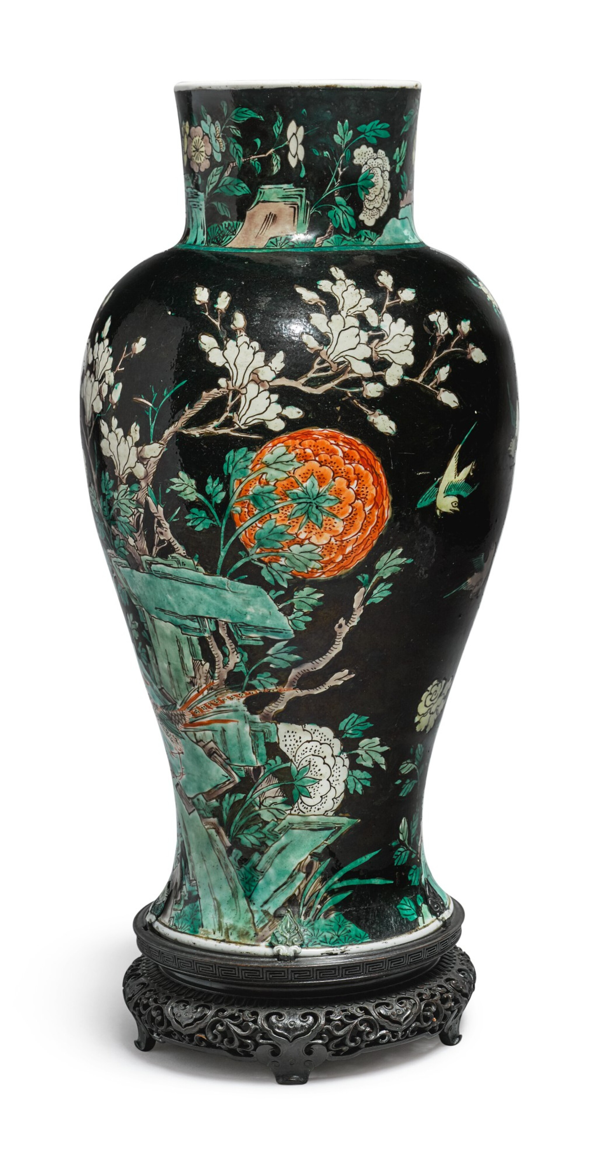 View 1 of Lot 1039.  A FAMILLE-NOIRE 'BIRD AND FLOWER' BALUSTER JAR,  QING DYNASTY, 19TH CENTURY.