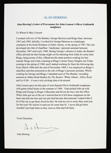 JOHN LENNON | Sunglasses, c. 1968