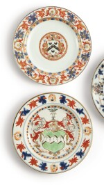 TWO CHINESE EXPORT ARMORIAL PLATES, QING DYNASTY, KANGXI PERIOD, CIRCA 1712 AND 1715