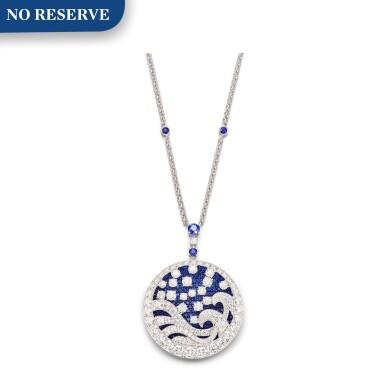 View 1. Thumbnail of Lot 1035. 'Wave' Sapphire and Diamond Pendent Necklace | 格拉夫| 'Wave' 藍寶石 配 鑽石 項鏈 (藍寶石及鑽石共重約11.30及11.90克拉).