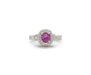View 1. Thumbnail of Lot 45. PINK SAPPHIRE AND DIAMOND RING.